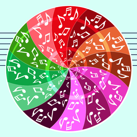 Vector color pattern of musical symbols. Illustration