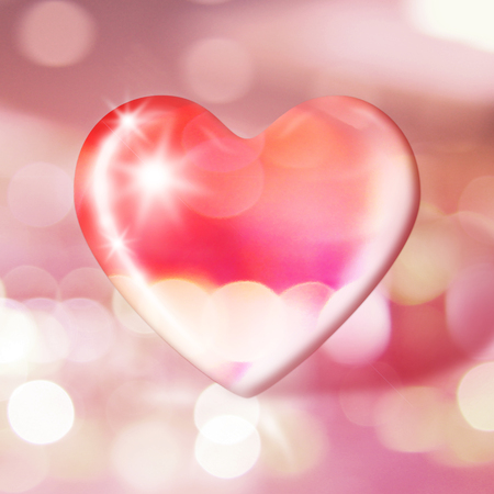 Transparent stylized heart on blurry bokeh background.