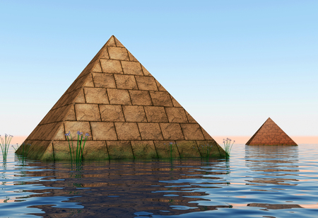 3d illustration. Ancient pyramid, built above the water.