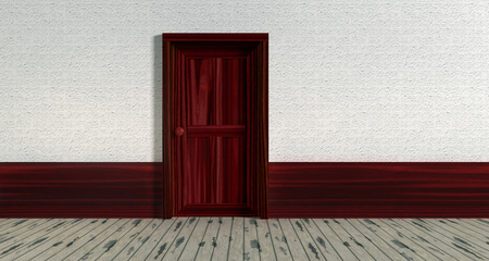 3d illustration. Part of white wall and closed wooden red door.