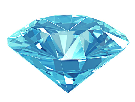 3d illustration. Blue diamond isolated on white background.