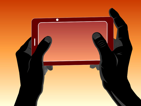 Human silhouette hands hold a mobile device. Vector illustration.