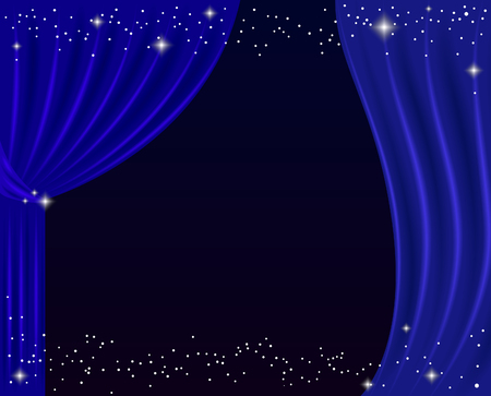 Blue curtain on a black background. Vector illustration.