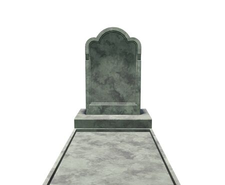 3d illustration. Marble tombstone isolated on a white background.