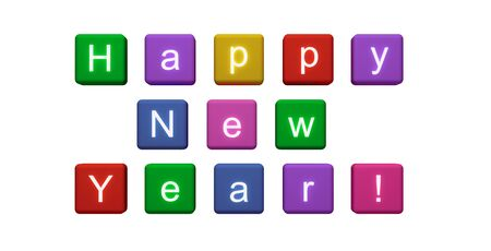 3d illustration. Colored cubes with letters on a white background. Happy New Year.