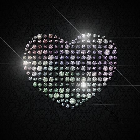 Shining heart of crystals on a black background. Raster illustration.