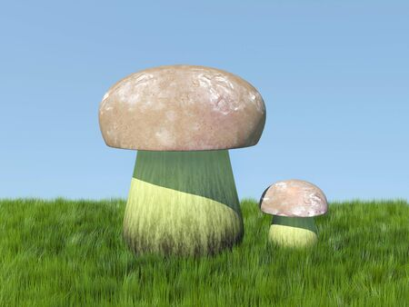 3d illustration. Two mushrooms in the grass on a blue background.