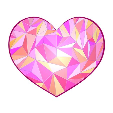 Colored polygonal heart on a white background. Vector illustration.