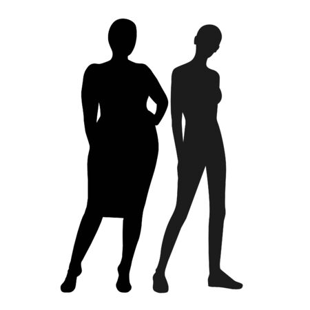 Slim and fat girl, silhouettes on a white background.