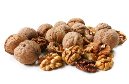 Mixed nuts close up isolated on white background Stok Fotoğraf