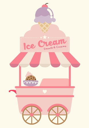 Ice Cream Booth Vector Illustration