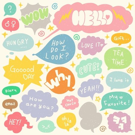 Set of Hand Drawn Speech and Thought Bubbles Doodle Illustration