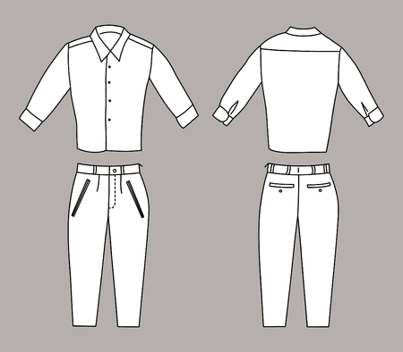 Vector Illustration of Bussiness Shirt and Pants, Front and Back Views Illustration