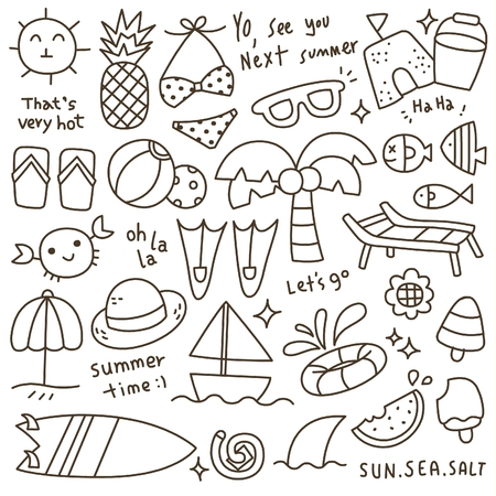 watermelon boat: Set of Cute Summer Time Doodle
