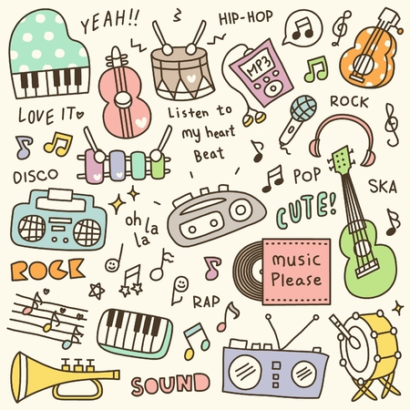 Set of Cute Music Instrument & Music Player Doodle