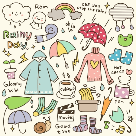 Set of Cute Rainy Day Doodle Çizim