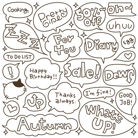 rumour: Set of Hand Drawn Speech and Thought Bubbles Doodle Illustration