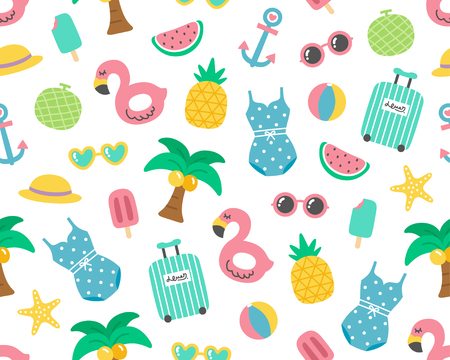 Cute Colorful Summer Holiday Seamless Pattern