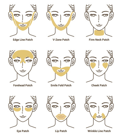 Types of Gold Gel Patch Series. Anti Wrinkle Patch. Vector Illustration.