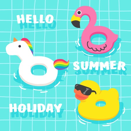 かわいい夏の空想のセットは、プールに浮かぶ。フラミンゴ、ユニコーン、鴨。夏の休日の派手なフロート。