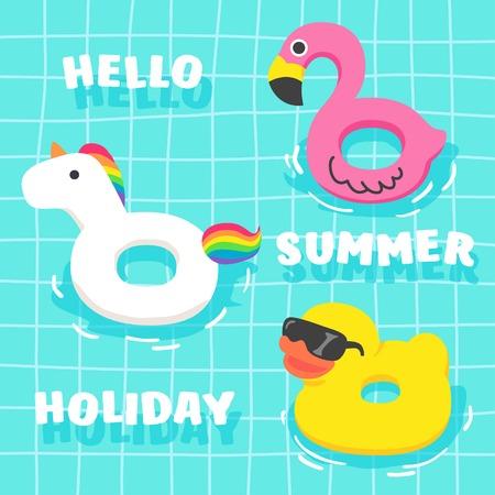 풀에서 귀여운 여름 팬시 수레 집합입니다. 홍학, 유니콘, 오리. 여름 휴가를위한 멋진 플로트.