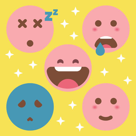 Cute Flat Emoticon Set Illustration