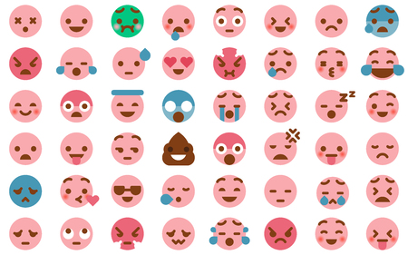 48 Cute Emoticon Pack Collection in Modern Flat Style