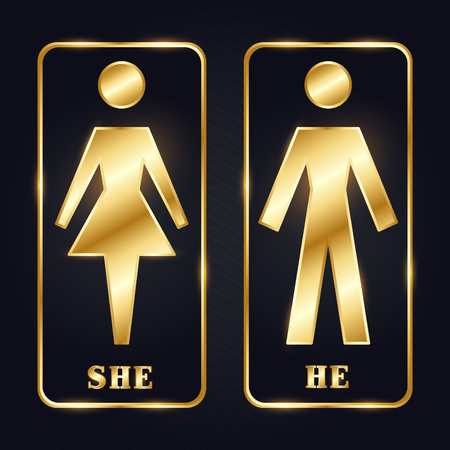 Golden Man and Woman Silhouette Restroom Sign illustration.