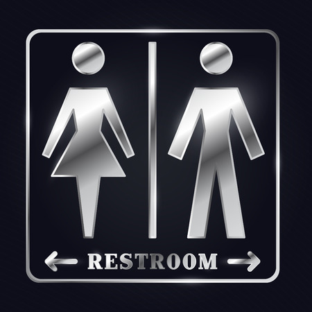 Silver Man and Woman Silhouette Restroom Sign Illustration