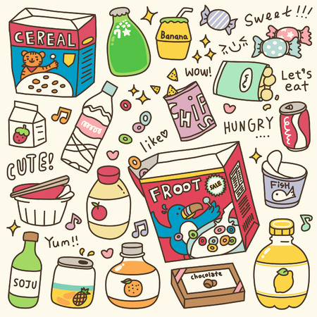 Set of Cute Grocery Food Doodle Illustration