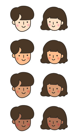 Couple Face with Skin Tone Vector Illustration Illustration