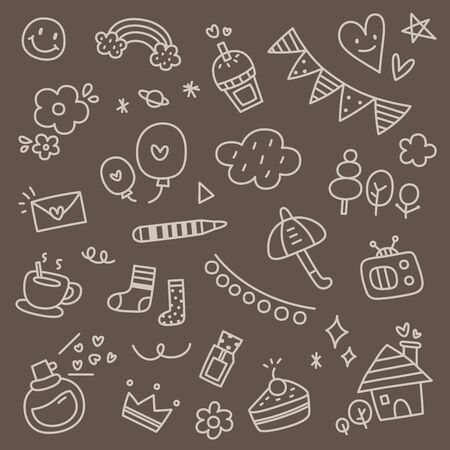 Set of Hand Drawn Cute Doodle Vector Illustration Stock fotó - 131943586