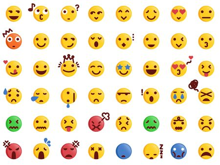 48 Various Emoticon Pack Collection in Modern Flat Style Vector. Emoji Icon Bundle.