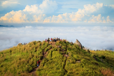 People hiking at Broga Hill, Malaysia