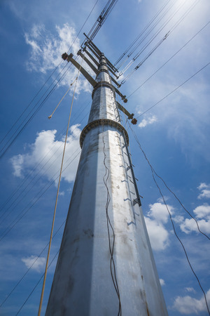conductor: Conductor Stringing On Transmission Monopole Tower