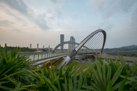 pedestrian bridge: Pedestrian Bridge, Putrajaya Dam, Putrajaya Malaysia Stock Photo