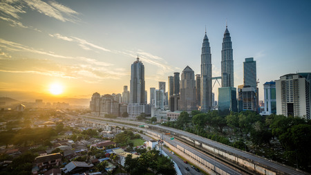 city center: beautiful sunrise at Kuala Lumpur city centre