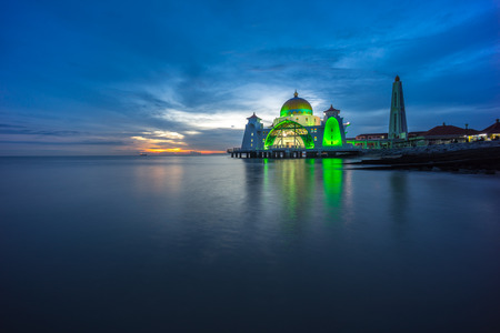 straits: Malacca Straits Mosque during beautiful dramatic sunset.