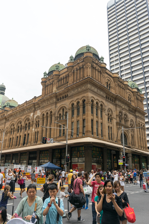 gift spending: Sydney, Australia - December 26, 2015: Crowd of people at the famous shopping mall around Sydney CBD during the boxing day sales