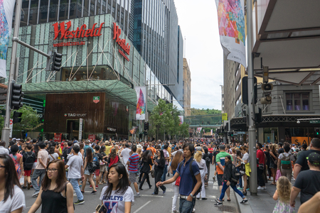 boxing day sale: Sydney, Australia - December 26, 2015: Crowd of people at the famous shopping mall around Sydney CBD during the boxing day sales
