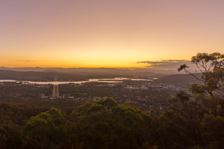 senators: Beautiful sunset at Canberra city view from Mount Ainslie Lookout point.