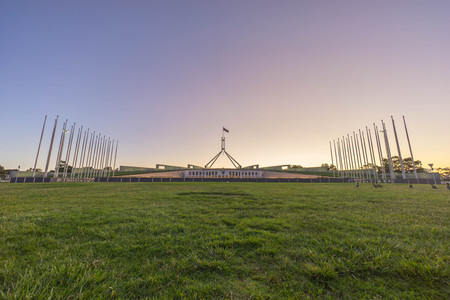 Canberra: Beautiful scene of sunset at Parliament House Canberra, Australia