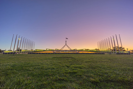 Beautiful scene of sunset at Parliament House Canberra, Australia