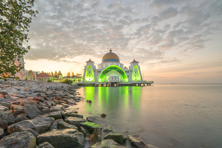straits: Malacca Straits Mosque (Masjid Selat) during sunrise
