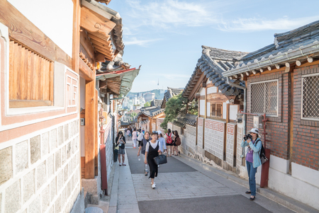 korean style house: Seoul, Korea - May, 2016: Traditional Korean style architecture at Bukchon Hanok Village in Seoul, South Korea.