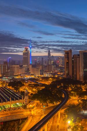 Aerial view of beautiful sunrise at Kuala Lumpur city centre
