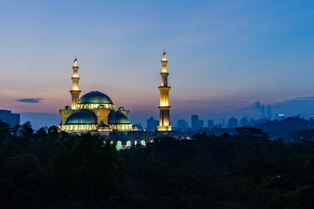 The Federal Territory mosque, Kuala Lumpur Malaysia at sunrise