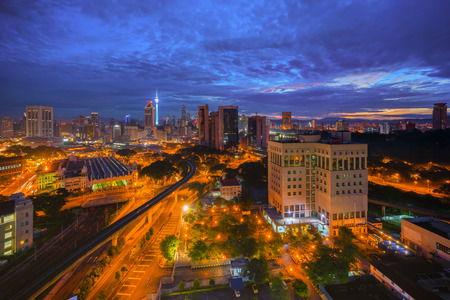 historic place: High aerial view of Kuala Lumpur city during sunrise