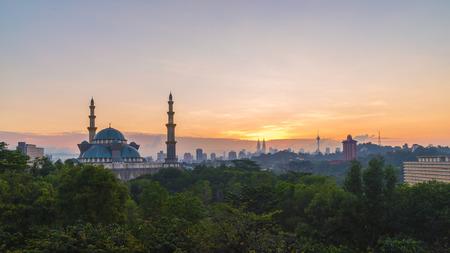 Majestic Blue Hour sunrise at The Federal Territory Mosque or Masjid Wilayah Persekutuan, Kuala Lumpur Malaysia Stock Photo