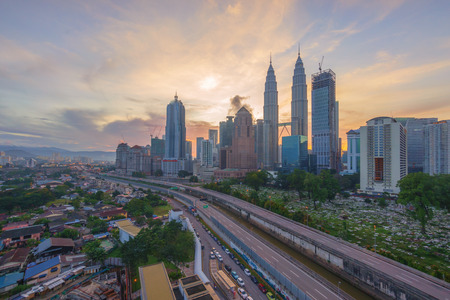 Dramatic blue hour sunrise over Kuala Lumpur City Skyline